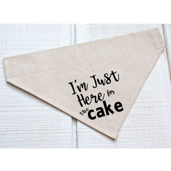 I\'m Just Here For the Cake Canvas Dog Bandana