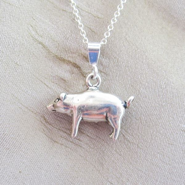 Pig Pendant Charm and Necklace