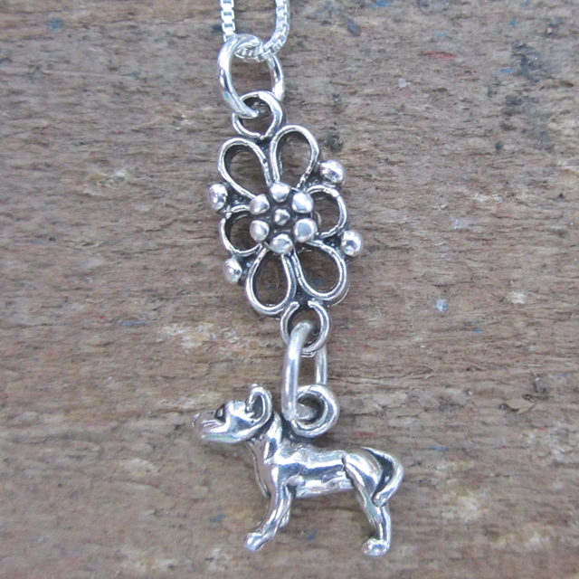 Pit Bull Mini Filigree Sterling Silver Necklace