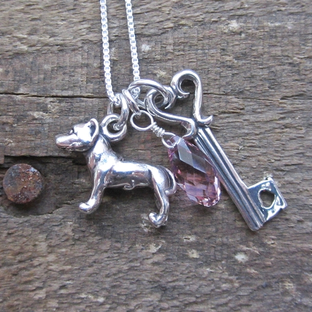 Pit Bull Large Key To My Heart Sterling Silver Necklace