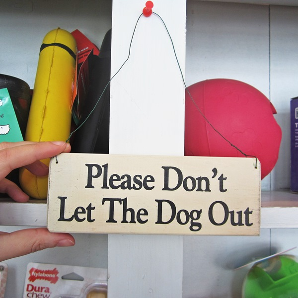 Please Don\'t Let The Dog Out Wooden Sign
