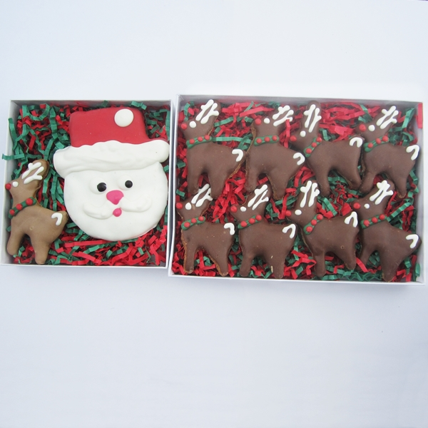 Santa and His Reindeer Christmas Dog Treat Assortment (2 boxes)