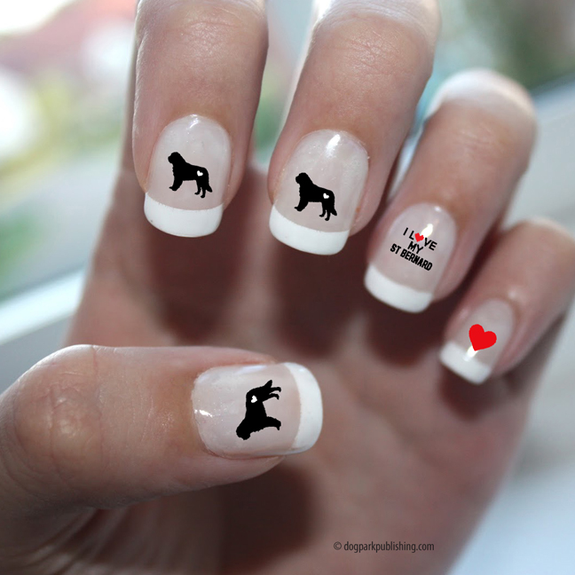 Saint Bernard Love Nail Art
