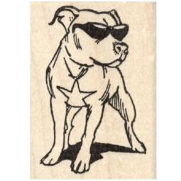Pit Bull in Sunglasses Rubber Stamp