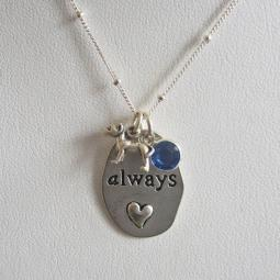 "Pit Bull Always Charm Necklace with 24"" Sterling Silver Chain"