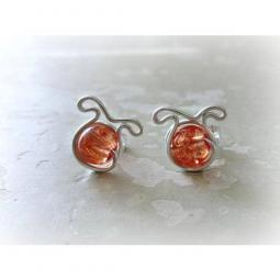 Amber Glass Dog Post Earrings - Sterling Silver