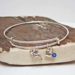 "French Bulldog Mini Heart Stackable Bangle Bracelet (2.5""-3"")"