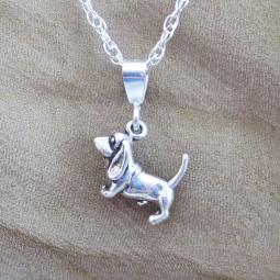 Basset Hound Mini Pendant Charm and Necklace