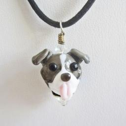 Blue Nose Pit Bull Glass Pendant Necklace