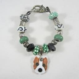 "Cropped Brindle Pit Bull 7.5"" Silver & Glass Bracelet (one of a"