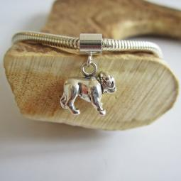 Bulldog Large Sterling Silver European-Style Charm and Bracelet
