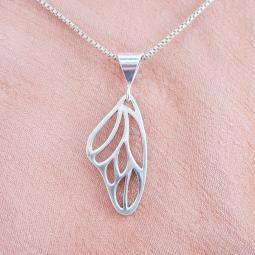 Butterfly Wing Sterling Silver Pendant Charm and Necklace