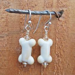 Dog Bone Cream Glass Earrings