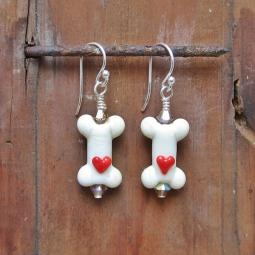 Dog Bone Cream with Red Heart Glass Earrings