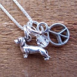 Dachshund Mini Peace Sterling Silver Necklace
