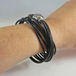 Black Italian Leather 5-Strand Wrap Bracelet with Magnetic Clasp