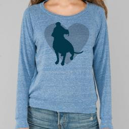 Pit Bull Heart Eco Ladies Slouchy Pullover - Royal Blue