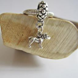 Pit Bull Mini Ster Silver European-Style Charm and Bracelet
