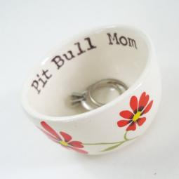 Handmade Pit Bull Mom with Red Flowers Ceramic Mini Dish