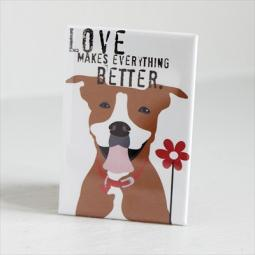 Pit Bull Love with Flower Art Magnet