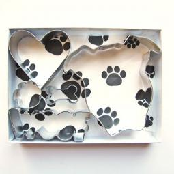 Pit Bull Face Natural Ears Woof Five Piece Cookie Cutter Set
