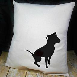 Black Pretty Pittie Pit Bull on Canvas Pillow Cover 18x18