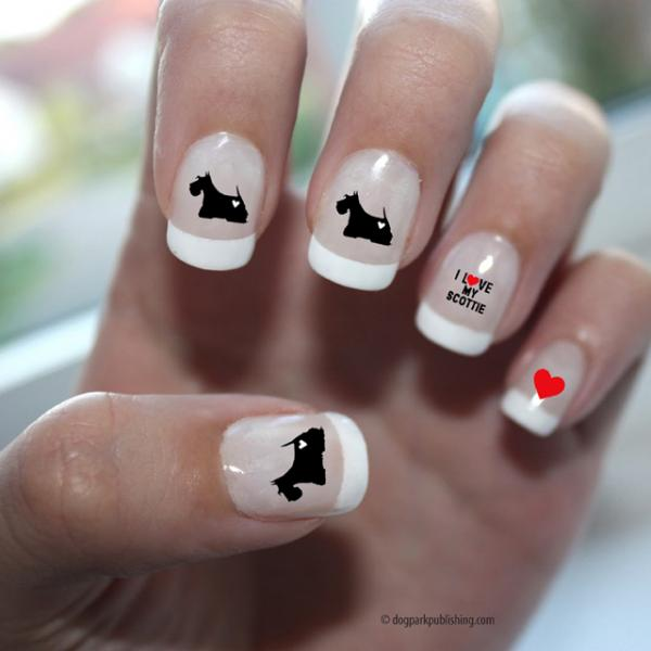 Scottish Terrier Love Nail Art