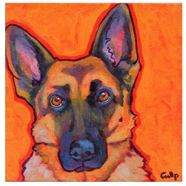 German Shepherd Orange Print